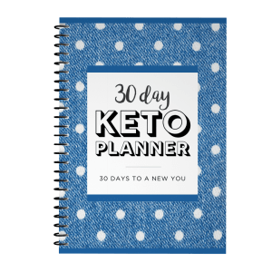 30 day keto planner with blue polka dot cover