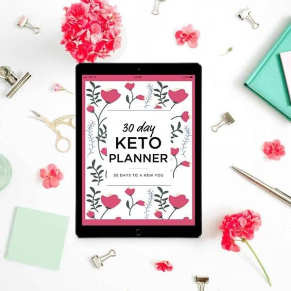 30 Day keto Planner shown on an ipad on a desk