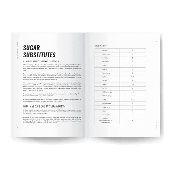 sugar substitute inside page preview of keto cupcake cookbook