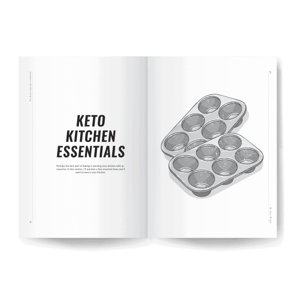 keto kitchen essentials page preview of keto cupcake cookbook