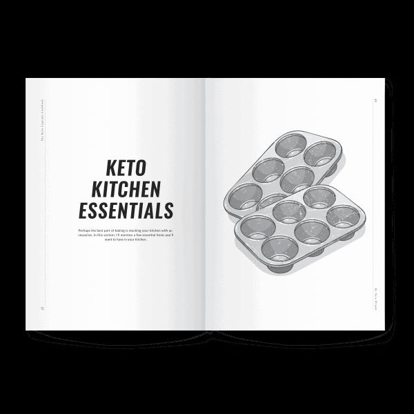 keto kitchen essentials page preview of keto cupcake cookbook