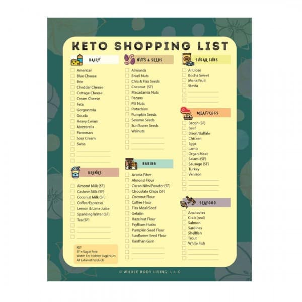 keto grocery list notepad FRONT