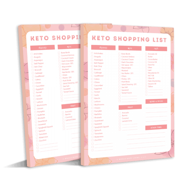 Keto Shopping List Tear Off Pad Pink