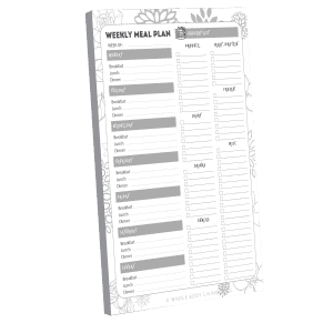 weekly meal planner black and white